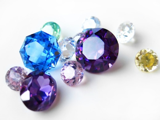 Multicolor gemstones close-up