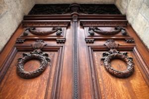 Porte, façade, maison, architecture, bois, riche, entrée